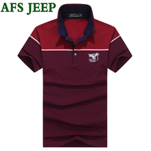 AFS JEEP High Quality Polo Stripe Splice brand clothing Casual Solid polos Shirts Clothing Short Sleeve Fashion  Polo Shirt Mens