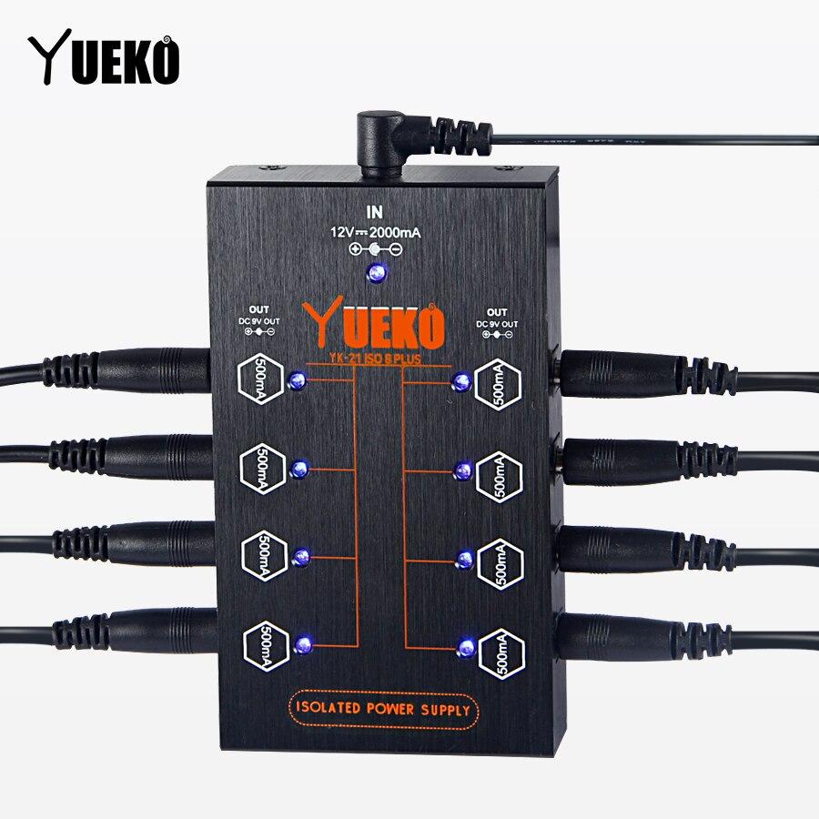 YUEKO Guitare Pédale Alimentation ISO8 PLUS Haute Qualité Pédale D'effet Guitare Alimentation 8 pièces câbles CC plus 1Y câble