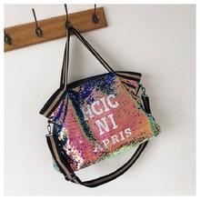 TTOU Large Pocket Womens Handbag Fashion Shiny Sequined Tote Shoulder Bags For Female Letter Print High Capacity Crossbody