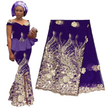 High Quality Royal Blue African Gold Sequin Lace 2019 French Fabric For Wedding Party Embroidery