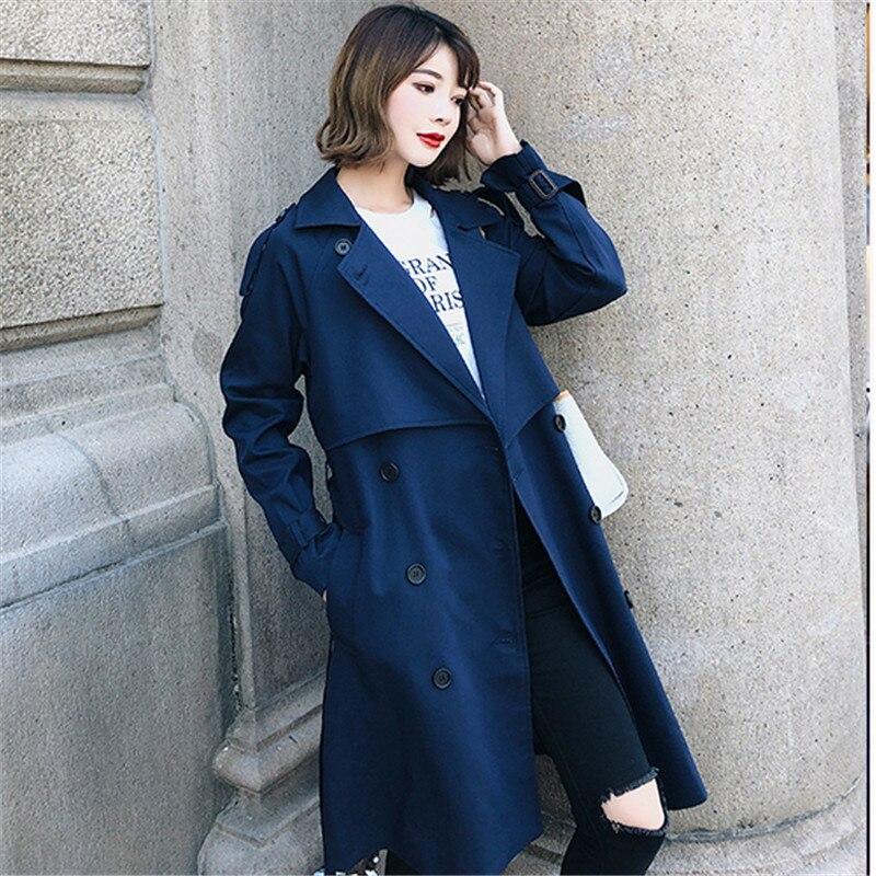 Windbreaker Female 2019 Spring Autumn new Korean leisure chic loose ladies harbor wind Long Trench Coat for women coats blue 005