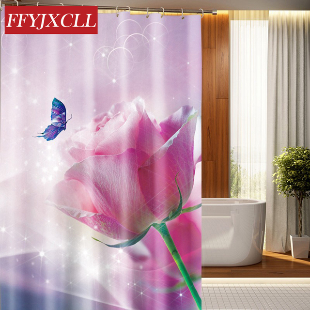 Butterfly Tulip Peach Blossom Print Waterproof Fabric Modern Shower Curtain Eco Friendly Bathroom