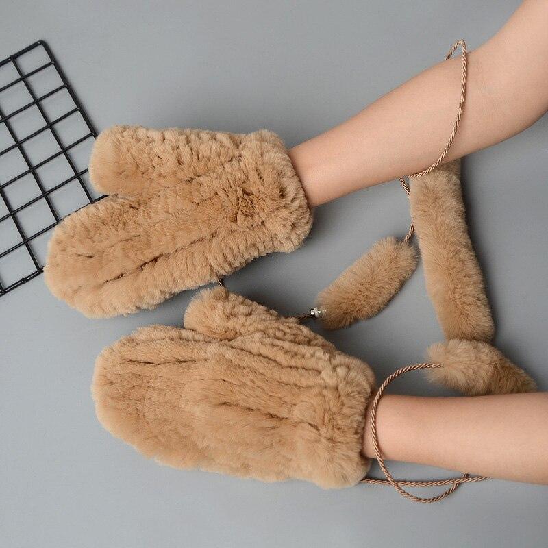 Glaforny 2019 New Winter Women Real Rex Rabbit Fur Gloves Knitted Real Rex Rabbit Fur Mittens Hot Sale Lady Warm Soft