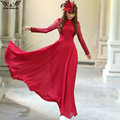 2017 high quality Spring Autumn Elegant Vintage Lace Chiffon Long Dress Slim Long Sleeve Wine Red Party Maxi Dresses Vestidos