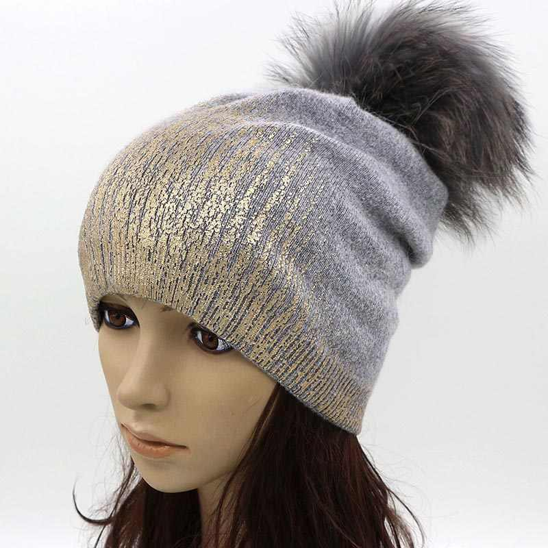 4d5f4cf3f01 ... GZHilovingL Soft Warm Women Ladies Winter Knitted Beanie Hat Cap With Fur  Pompom Gold Metallic Wool