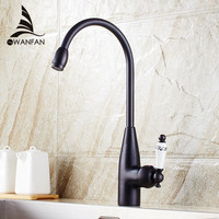 Kitchen Faucets Brass Black Bathroom Faucet For Basin Single Handle Rotate High Spout Deck Sink Hot and Cold Mixers Tap SY 051R