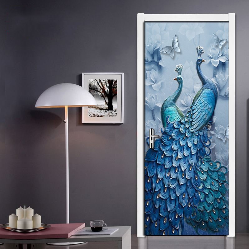 Door Sticker 3D Butterfly Peacock Art Oil Painting Wall Mural Living Room Bedroom PVC Self-adhesive Door Decoration Wallpaper