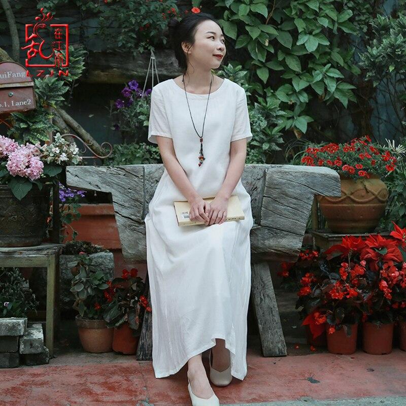 LZJN Robe orientale à manches longues Cheongsam Qipao 2019 été automne Floral papillon imprimé Robe traditionnelle chinoise femmes Robe - 2