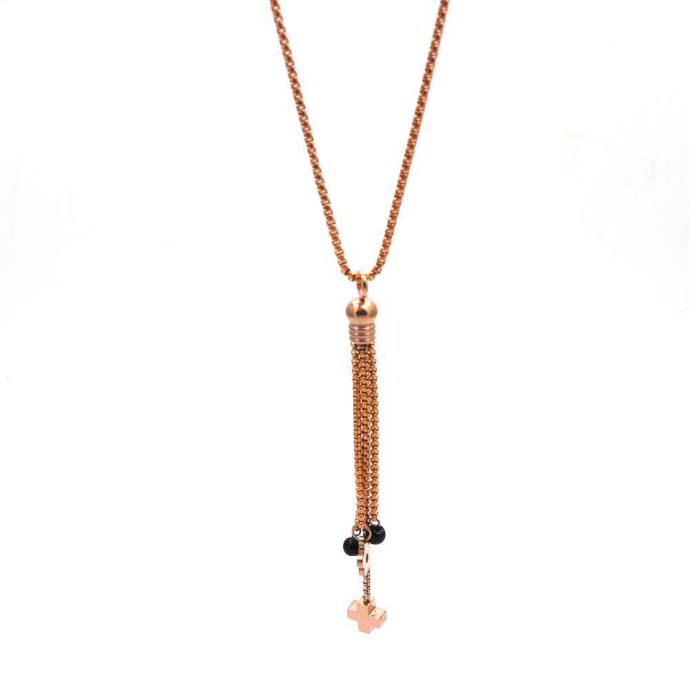 mujer kolye wholesale stainless steel necklace jewelry long necklace with tassel & cross &flower beads color is random N5133