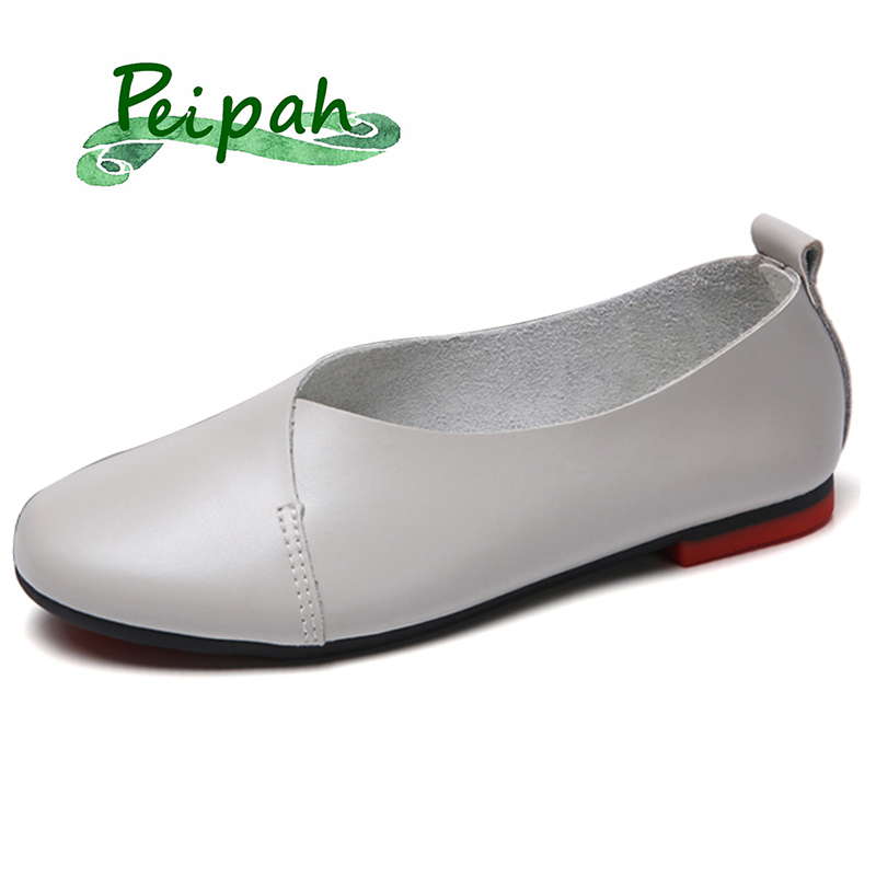 PEIPAH 2019 Spring Summer Genuine Leather Women Loafers Shoes Casual Slip On Round Toe Female Flats Shoes Women's Mocassins