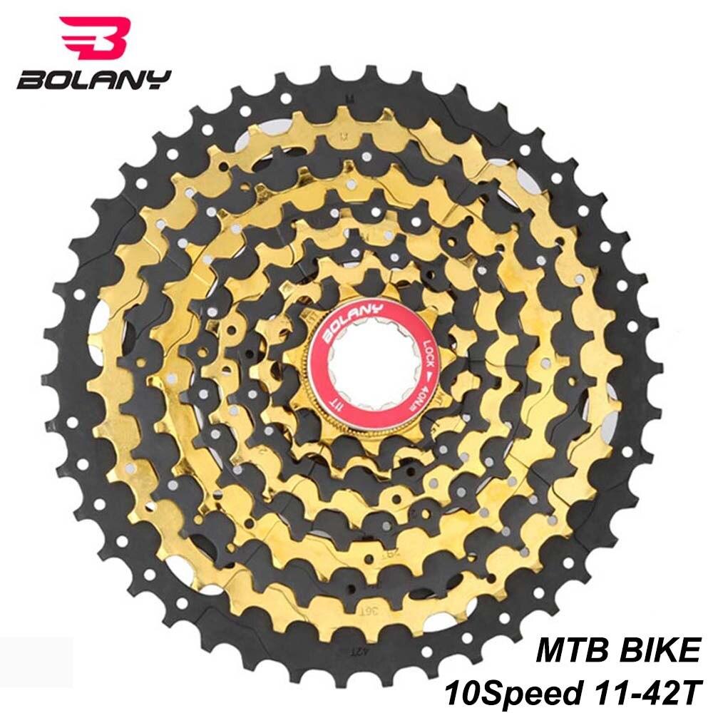 Pignon de Cassette en acier noir doré BOLANY vtt 10 vitesses à rapport large 11-42 T Compatible pour les pièces de vélo de montagne Shimano