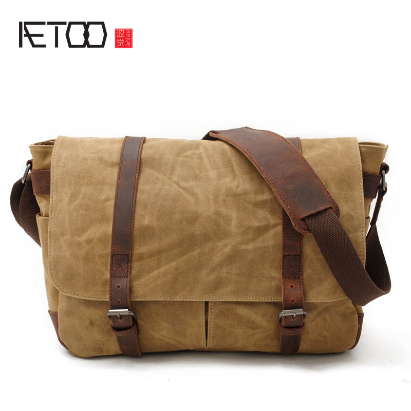 AETOO Men 's Bundle Camera Bag Casual Shoulder Bag Canvas With Crazy Horse Leather Case SLR Waterproof Camera Bag outdoor camping tent tourist big two bedrooms 4 season 4 person tents travel large family camping tent