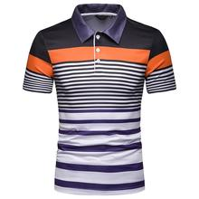 Casual New Men Polo Shirt Summer Tops Mens Clothing Stripe for Short sleeve Business