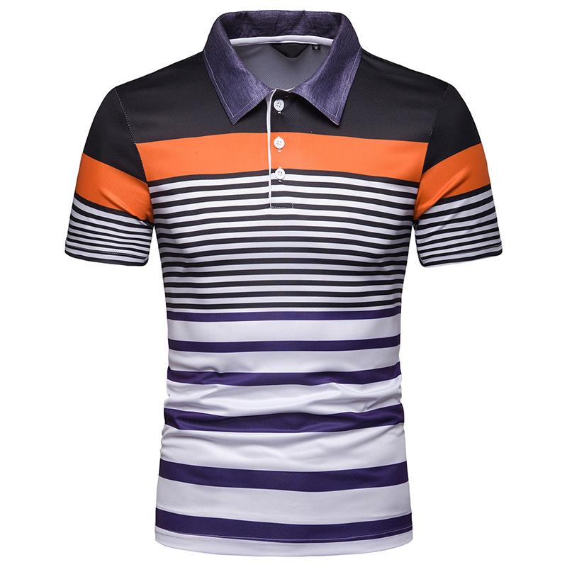 Casual New Men   Polo   Shirt Summer Tops Men's Clothing Stripe   Polo   Shirt for Men Short sleeve Business New