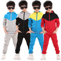 2015 новая осень детская одежда верхняя одежда детей 2 шт. спортивный костюм мальчиков комплект одежды балахон + брюки осенью ребенок случайные наборы
