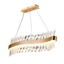 Fala projekt długi kryształ żyrandol LED lampa AC110V 220V połysk kronleuchter cristal domu pasek oświetleniowy światła