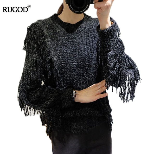 rugod sweater autumn winter tassel pullovers black knitted women tops loose christmas sweaters jumper thick pinned - Black Christmas Sweater