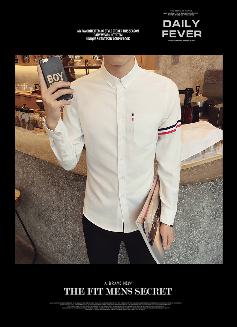 2017 New autumn men's casual tops brand shirt striped Strip decorate cotton men fashion solid color long sleeved Shirts M-XXXL 69