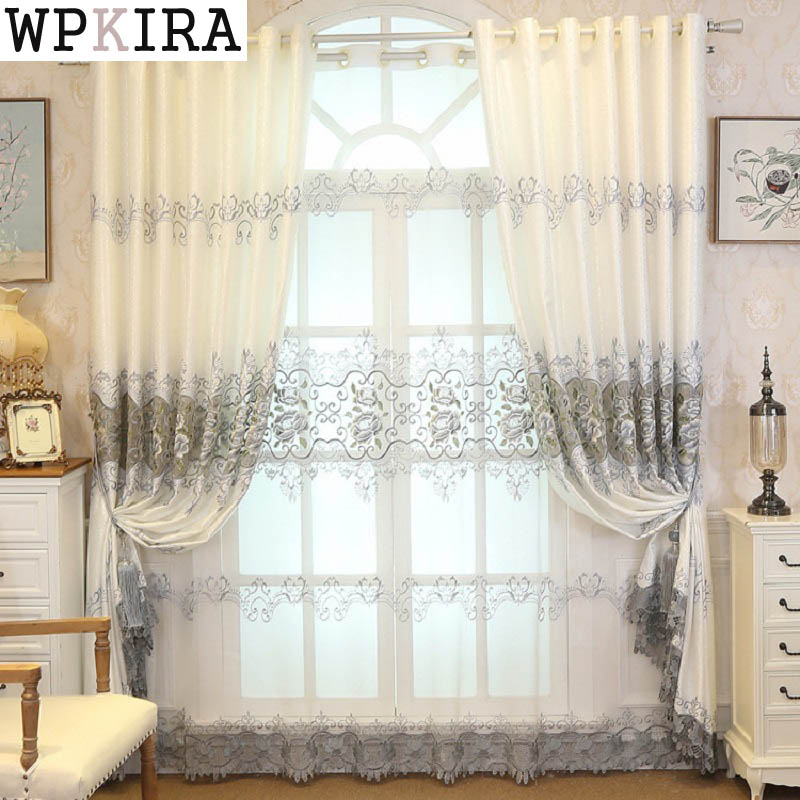 Grey Embroidered Voile Curtains For Living Room The