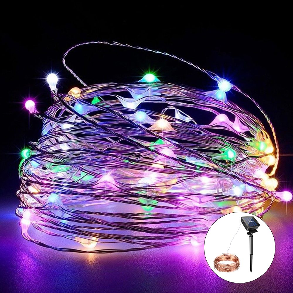 Foxanon Led Solar Strings Light 10m 100leds 20m 200led Rgb White Warm Copper Wire Strip Lights 12v Dc String Lighting For Holiday Garden Christmas Decorative In Lamps From