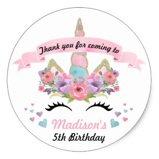 3 8cm Magical Unicorn Birthday Party Thank You Stickers In