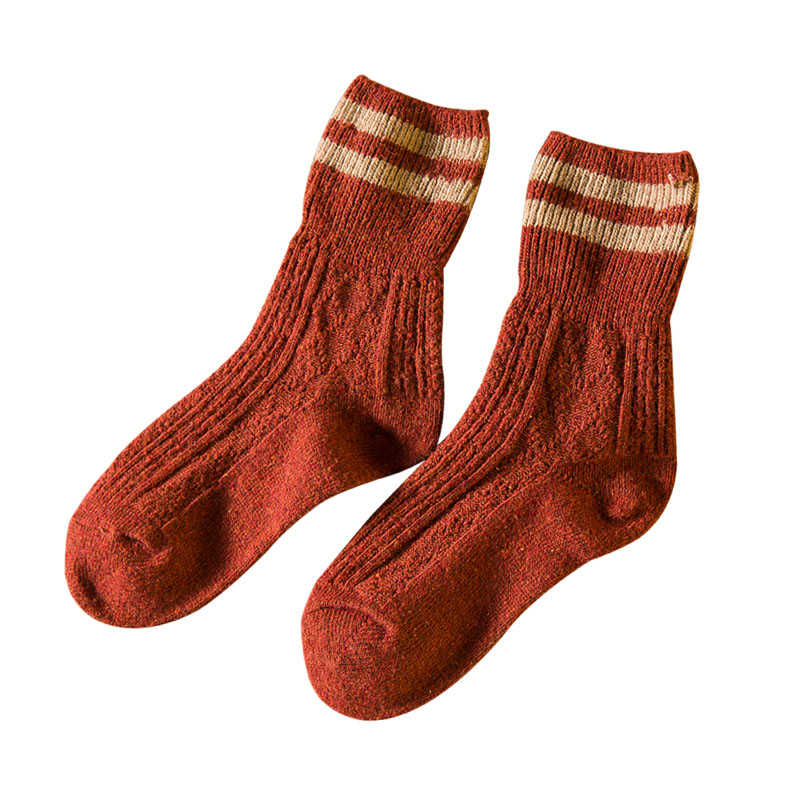 Fashion Autumn Winter Women Flanging Rabbit Wool Retro Stripes Tube Socks HOT