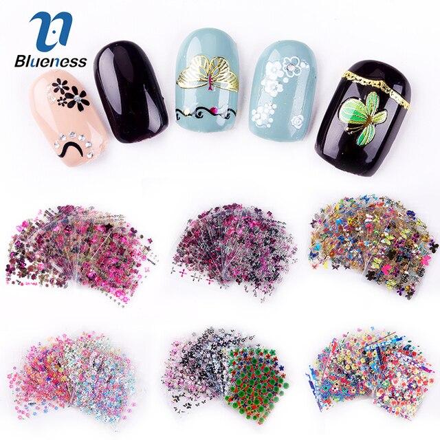 24/30 Pcs Nail Sticker Flower Butterfly Colorful 3D Sticker Design ...