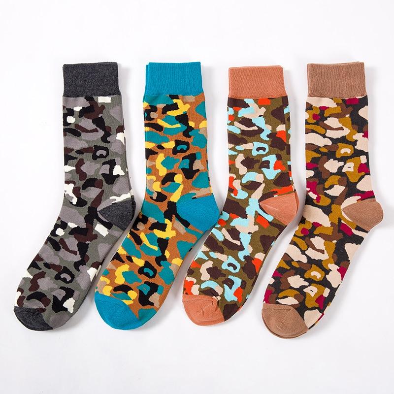 Colour Crew Cotton Happy Socks Men/Women British Style Casual Harajuku Designer Brand Camouflage Novelty Art For Couple Funny