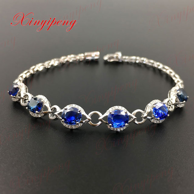 18 k gold inlaid natural sapphire bracelet  Blue Sri Lanka 5 carat