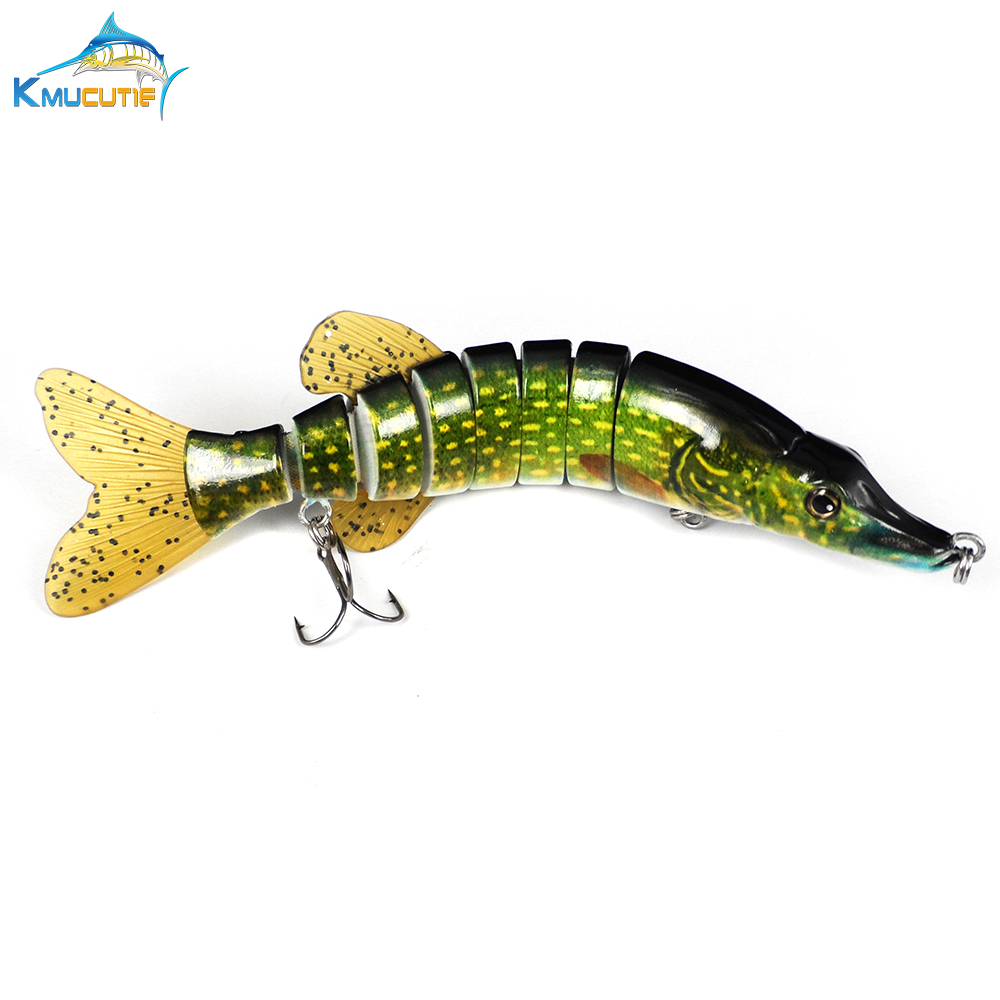 10pcs 8 Sections hard Fishing Lure Mixed color Realistic artificial multi segments vivid swimming baits