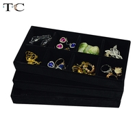 3pcs Lot Ring Necklace Chain Compartment Jewelry Display Tray Black Velvet 11 22 3cm