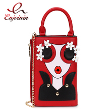 Fashion Sexy Cartoon Character Print Flower Applique Pu Leather Ladies Casual Handbag Shoulder Bag Chain Bag Purse Wallet Totes flower print pu purse bag