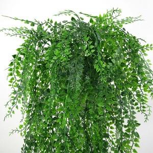 Image 3 - 82 см искусственные зеленые горшечные растения стена из виноградных лоз Висячие поддельные листья растения для украшения дома сада имитация искусственная Орхидея цветок ротанга