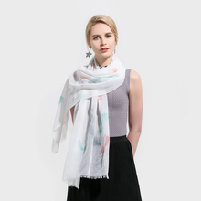 Winfox New Fashion Spring Summer White Sky Blue  Feather Print Long Fringe Scarfs And Shawls Womens Ladies