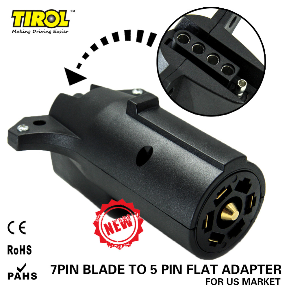 tirol 7 way pin rv blade to 5 way flat trailer wiring adapter trailer light plug connector free shipping [ 1000 x 1000 Pixel ]