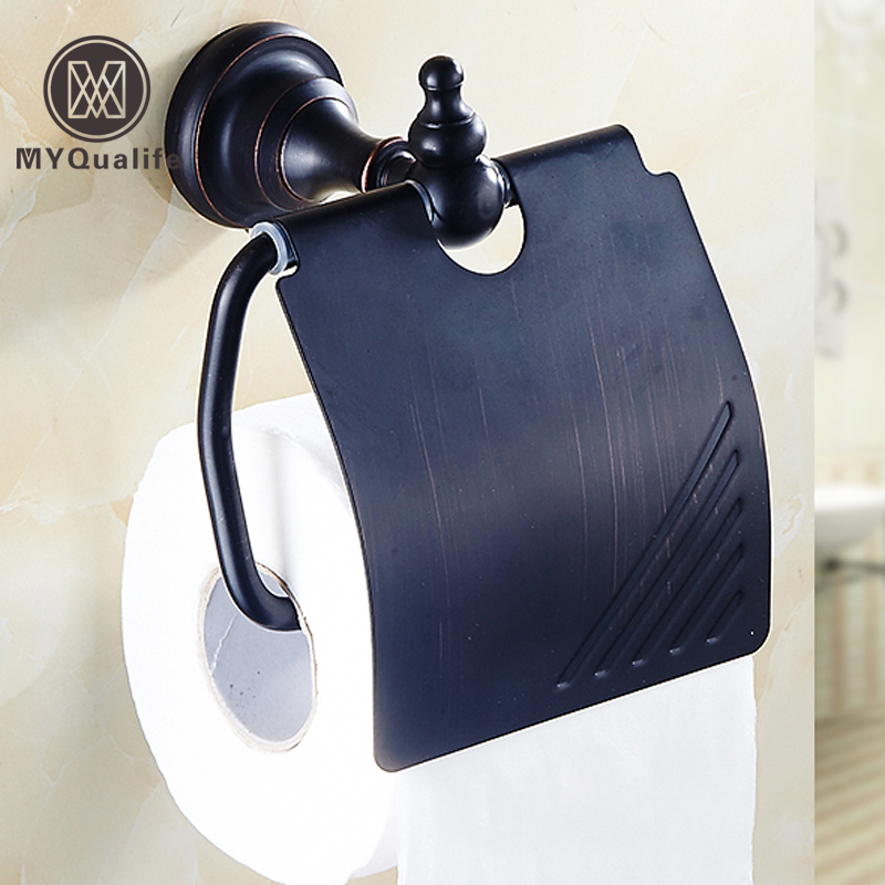 bathroom free shipping oil-rubbed bronze black toilet tissue paper roll holder oil rubbed bronze toilet paper holder wall mount tissue box