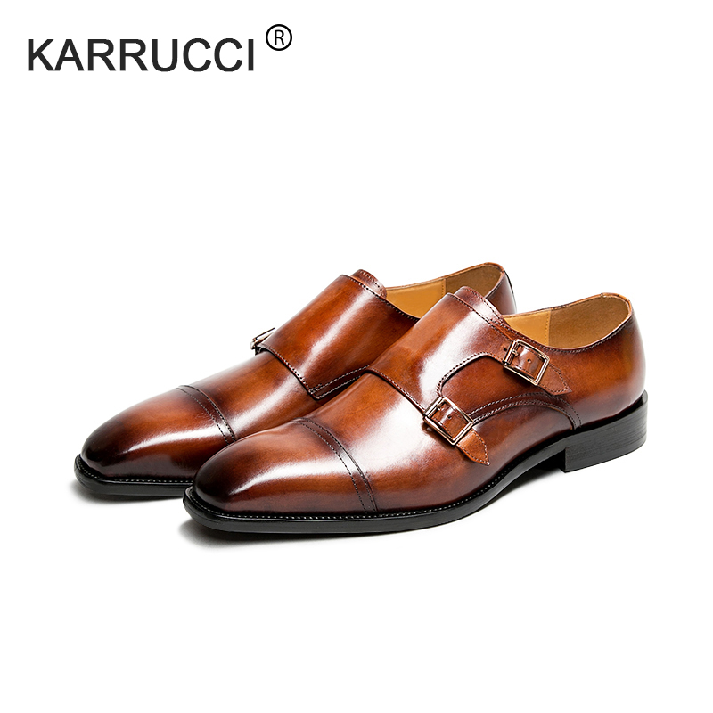 KARRUCCI Mens Double Monk Strap Slip on Loafer Cap Toe Leather Oxford Formal Business Casual Comfortable Dress Shoes for Men