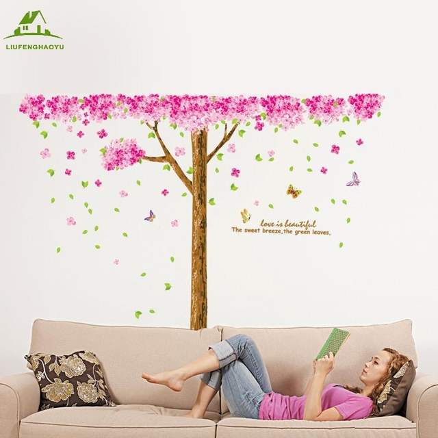 4afb86de47 Large Size butterfly cherry tree DIY Vinyl Wall Stickers Home Decor Art  Decals Design 3D Wallpaper Bedroom Sofa house decoration