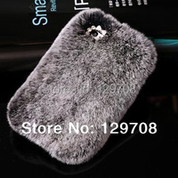 Rhinestone Plush Fox Flip Leather Case For IPhone 4 4S 5 5S Galaxy S3 S4 I9300