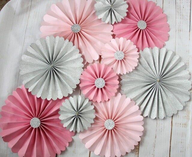 princess paper fans pastel pink pinwheels girls baby shower litter girl birthday backdrop