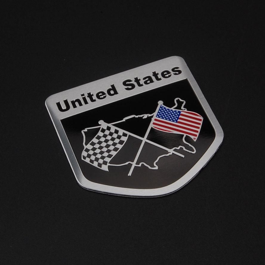 Aluminum American USA Flag Car Auto Body Side Trunk Decal Sticker Badge Emblem