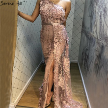 Dubai Pink One-Shoulder Sexy Evening Dresses Serene Hill