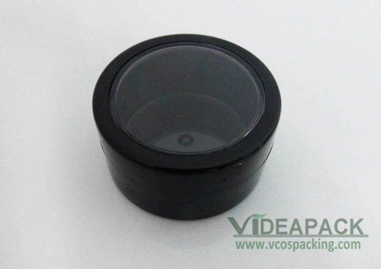 100 pcslot empty plastic 10ml jar black color with black rim lid, eyeshadow  press powder case