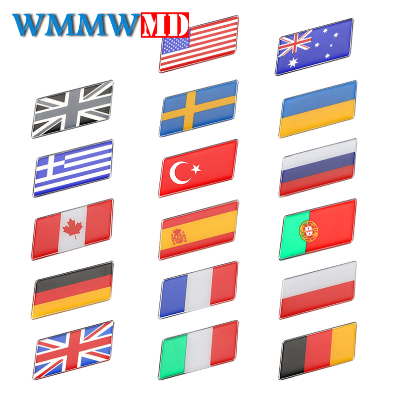 Car Styling 3D Metal Epoxy Flag Sticker National Flags Emblem Auto Accessories For Cars Motorcycles Laptop Phone Door Decal