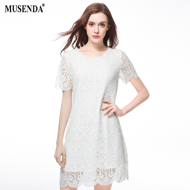MUSENDA Plus Size Women Cute Hollow Out Lace Tunic White Dress 2017 Summer  Sundress Lady Casual Brief Sweet Party Office Dresses 971fa43e0443