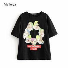 2019 Summer Simple Women's Seven Dwarfs Print Short Sleeved O-Neck Tops Graphic Tees Woman Black