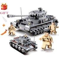 Military Panzer 995pcs Building Blocks Sets LegoINGs Military WW2 German Tiger King Tank Soldiers Figures Bricks Educational Toy