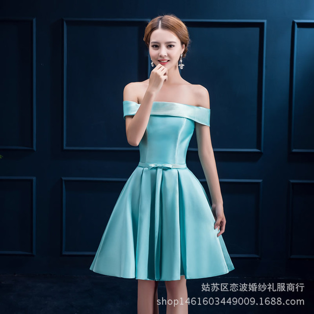 9c15fca22c9 Satin Cocktail Dress Off Shoulder Lace-up Women Cocktail Party Dress in Green  cocktail jurk