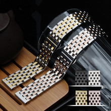 20mm 22mm Nuevo Hombre de Plata Negro Sólido de Acero Inoxidable Reloj Pulsera Correa de La Venda de reloj de Despliegue hebilla de Cinturón