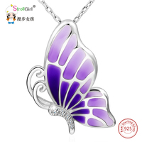 925 Sterling Silver Chain Cubic Zirconia Butterfly Pendants & Necklaces For Women Purple Enamel Necklace Girl Fashion Jewelry